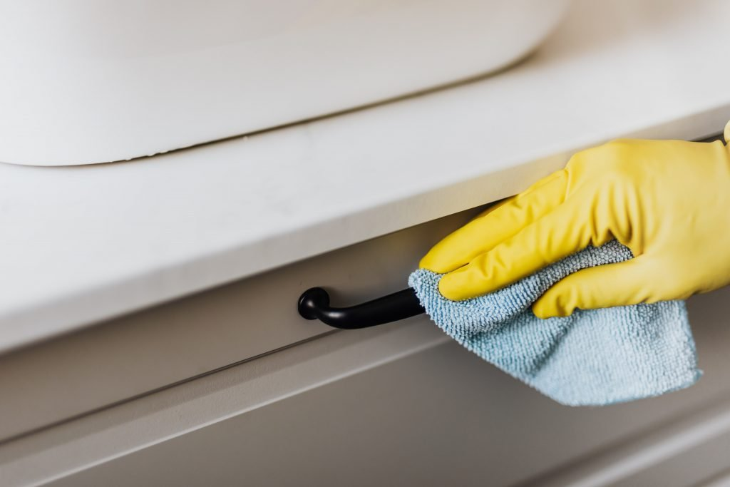 disinfecting a handle